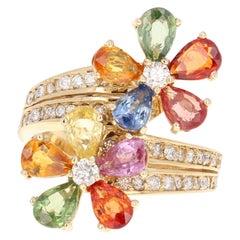 5.10 Carat Multi Sapphire Diamond 14 Karat Yellow Gold Floret Ring