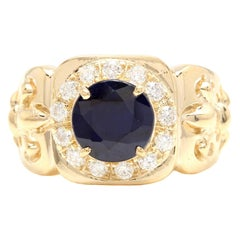 5.10 Carat Natural Diamond & Blue Sapphire 14 Karat Solid Yellow Gold Men's Ring