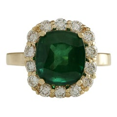 5.10 Carat Natural Emerald 18 Karat Yellow Gold Diamond Ring