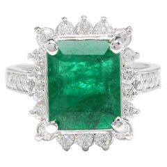 5.10 Carat Natural Emerald and Diamond 14 Karat Solid White Gold Ring