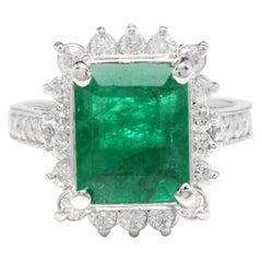 5.10 Carat Natural Emerald and Diamond 14 Karat Solid White Gold Ring