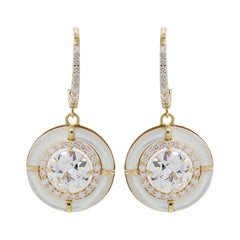 5.10 Carat Old European Cut Diamond and Mother of Pearl Drop Earrings