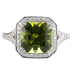 5.10 Carat Peridot and Diamond Ring