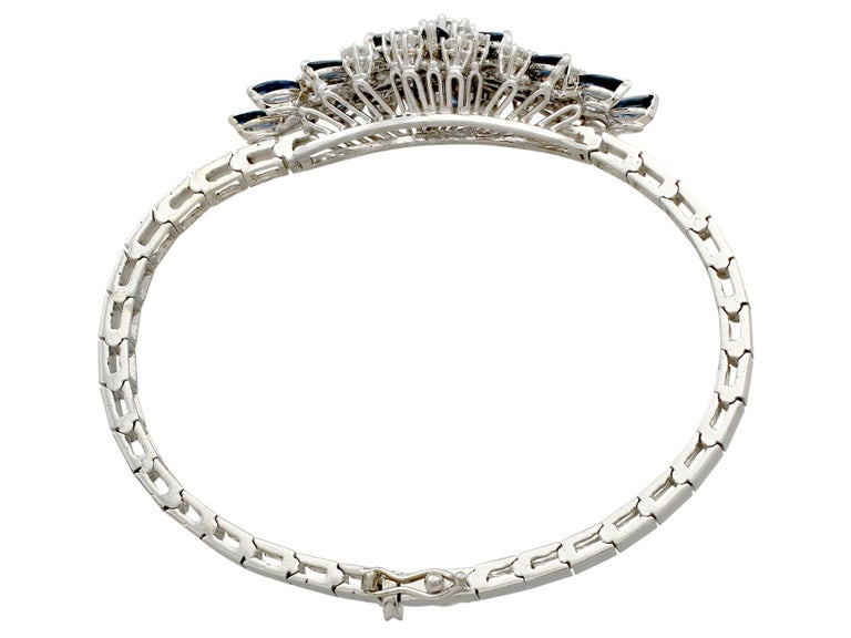 An impressive vintage 2.10 carat sapphire and 2.51 carat diamond, 18 karat white gold bracelet; part of our diverse gemstone jewellery and estate jewelry collections.  This fine and impressive vintage sapphire bracelet has been crafted in 18k white