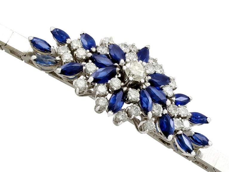 5.10 Carat Sapphire and 2.51 Carat Diamond White Gold Bracelet In Excellent Condition For Sale In Jesmond, Newcastle Upon Tyne