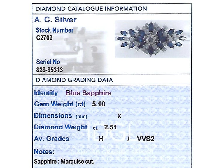 5.10 Carat Sapphire and 2.51 Carat Diamond White Gold Bracelet For Sale 2