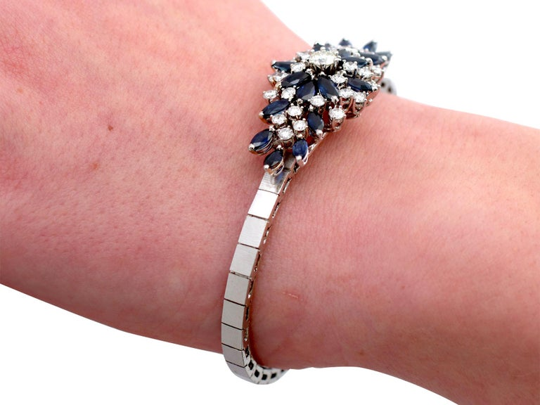 5.10 Carat Sapphire and 2.51 Carat Diamond White Gold Bracelet For Sale 4