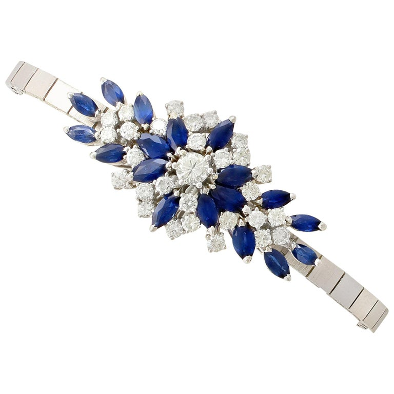 5.10 Carat Sapphire and 2.51 Carat Diamond White Gold Bracelet For Sale
