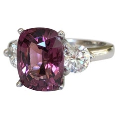 5.10 Carat Spinel and Diamond Three-Stone Platinum Engagement Ring