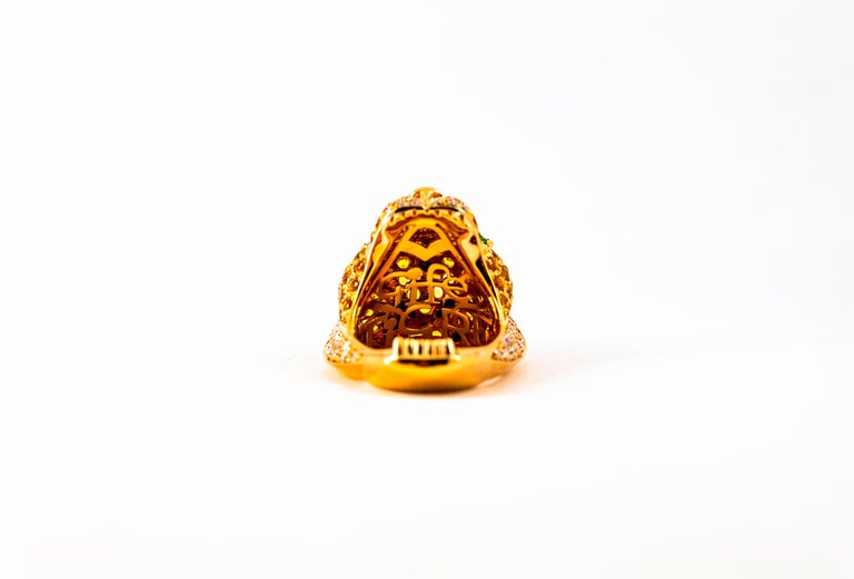5.10 Carat Yellow Sapphire Emerald Black & White Diamond Yellow Gold Tiger Ring For Sale 5