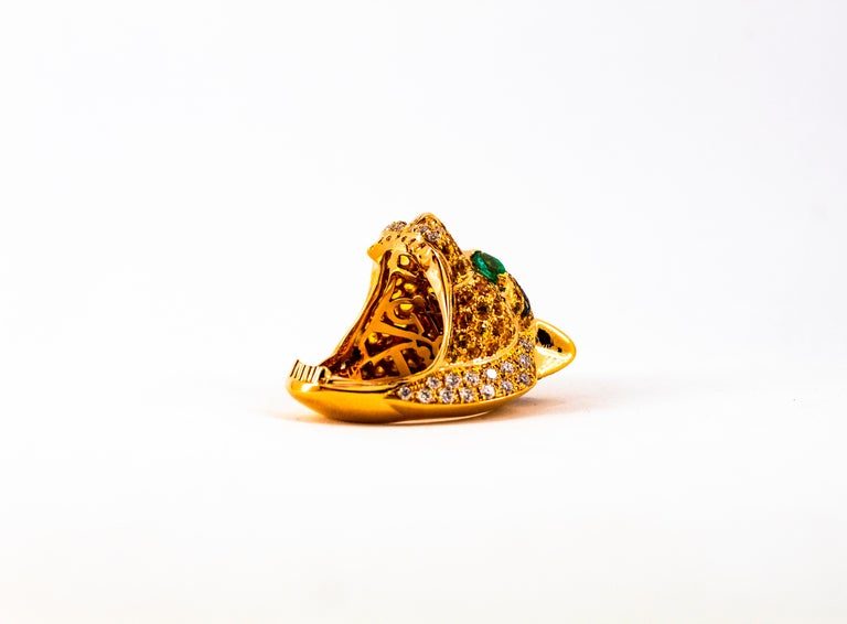 5.10 Carat Yellow Sapphire Emerald Black & White Diamond Yellow Gold Tiger Ring For Sale 6