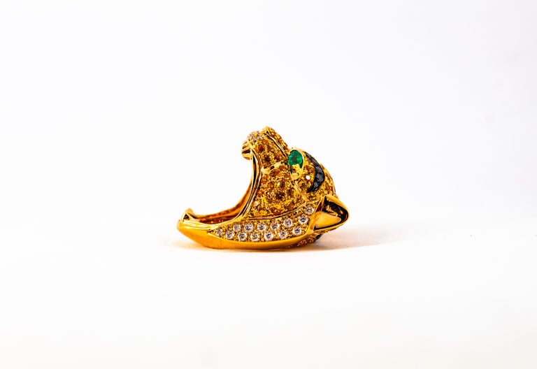 5.10 Carat Yellow Sapphire Emerald Black & White Diamond Yellow Gold Tiger Ring For Sale 7