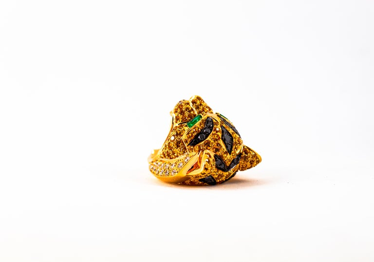 5.10 Carat Yellow Sapphire Emerald Black & White Diamond Yellow Gold Tiger Ring For Sale 8