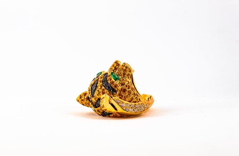 5.10 Carat Yellow Sapphire Emerald Black & White Diamond Yellow Gold Tiger Ring For Sale 9