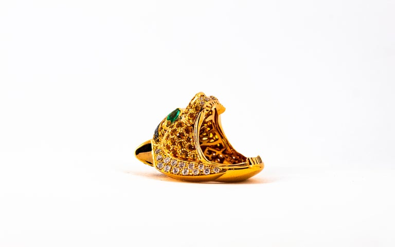 5.10 Carat Yellow Sapphire Emerald Black & White Diamond Yellow Gold Tiger Ring For Sale 10