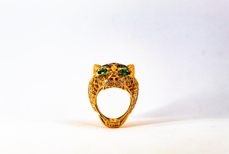5.10 Carat Yellow Sapphire Emerald Black & White Diamond Yellow Gold Tiger Ring For Sale 11