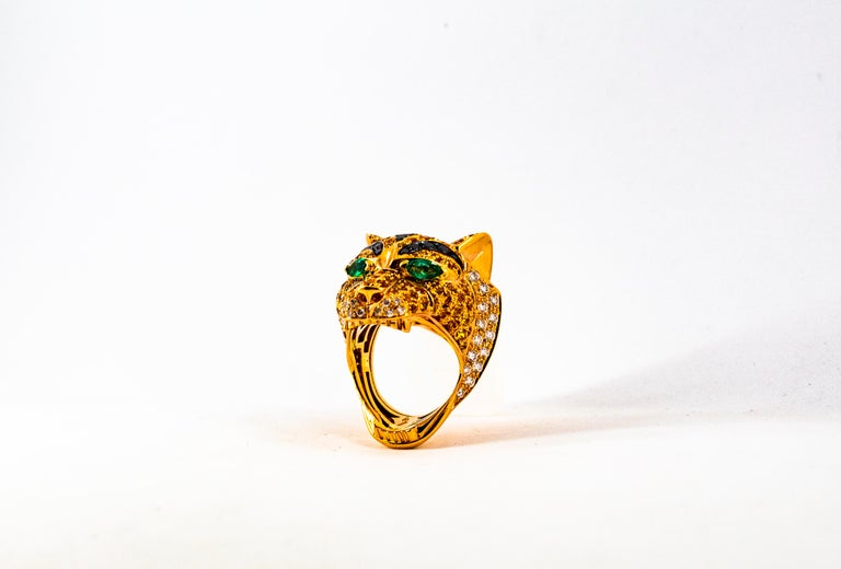 5.10 Carat Yellow Sapphire Emerald Black & White Diamond Yellow Gold Tiger Ring For Sale 12