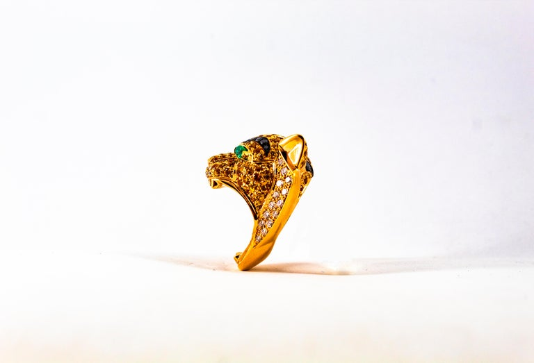 5.10 Carat Yellow Sapphire Emerald Black & White Diamond Yellow Gold Tiger Ring For Sale 13