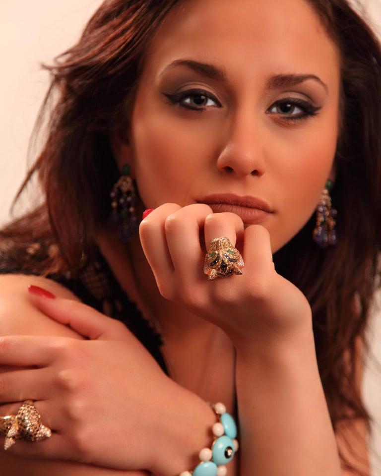 5.10 Carat Yellow Sapphire Emerald Black & White Diamond Yellow Gold Tiger Ring For Sale 14