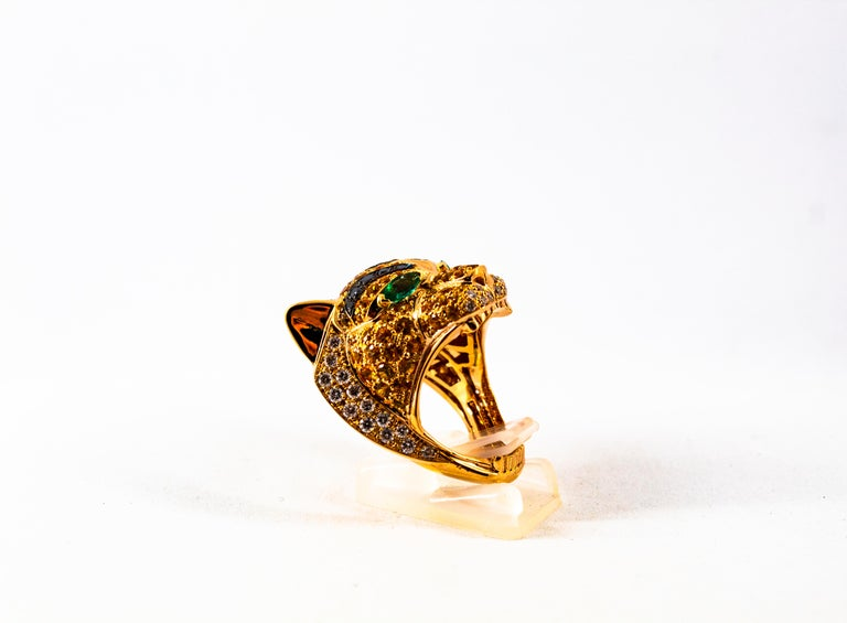 Modern 5.10 Carat Yellow Sapphire Emerald Black & White Diamond Yellow Gold Tiger Ring For Sale