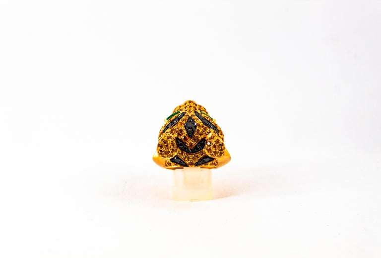 5.10 Carat Yellow Sapphire Emerald Black & White Diamond Yellow Gold Tiger Ring For Sale 1