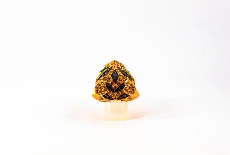 5.10 Carat Yellow Sapphire Emerald Black & White Diamond Yellow Gold Tiger Ring For Sale 1