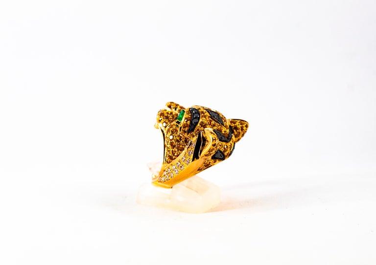 5.10 Carat Yellow Sapphire Emerald Black & White Diamond Yellow Gold Tiger Ring For Sale 2