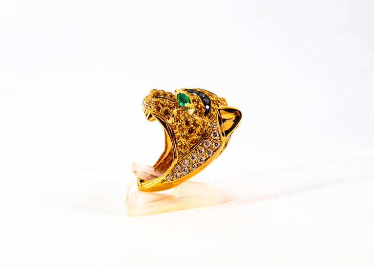 5.10 Carat Yellow Sapphire Emerald Black & White Diamond Yellow Gold Tiger Ring For Sale 3