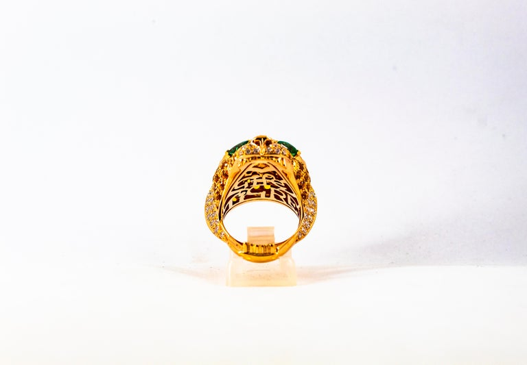 5.10 Carat Yellow Sapphire Emerald Black & White Diamond Yellow Gold Tiger Ring For Sale 4