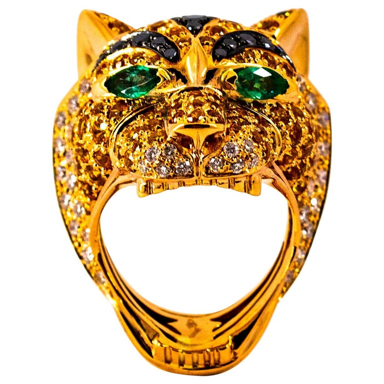 5.10 Carat Yellow Sapphire Emerald Black & White Diamond Yellow Gold Tiger Ring For Sale