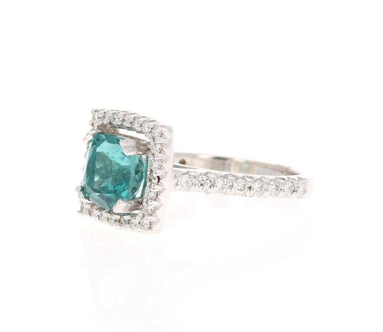 Modern 5.11 Carat Apatite Diamond White Gold Engagement Ring For Sale
