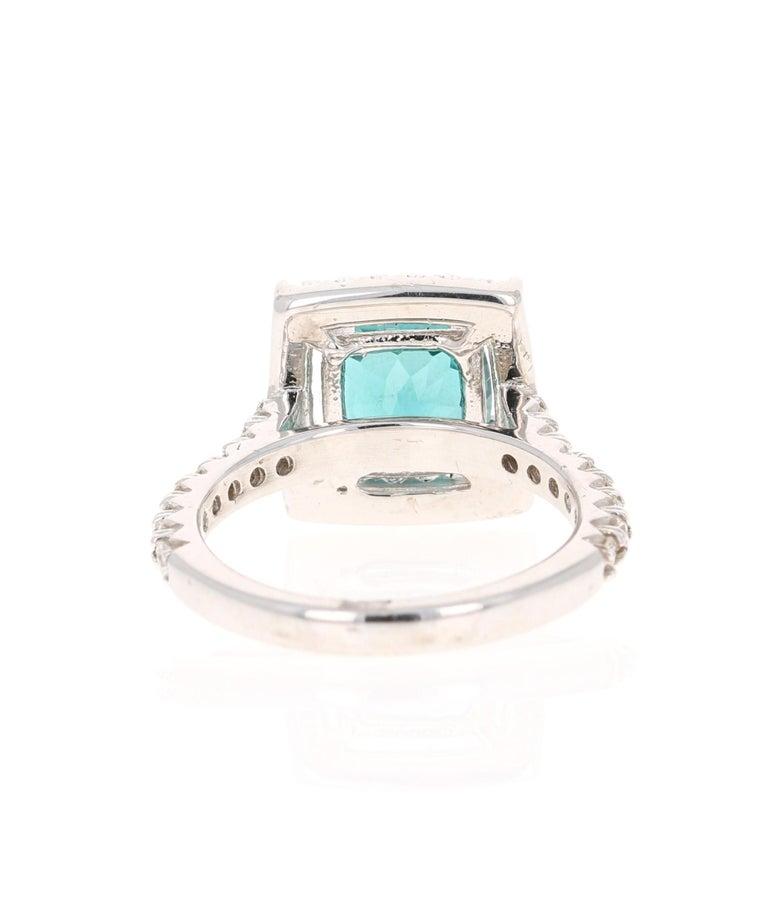 Cushion Cut 5.11 Carat Apatite Diamond White Gold Engagement Ring For Sale