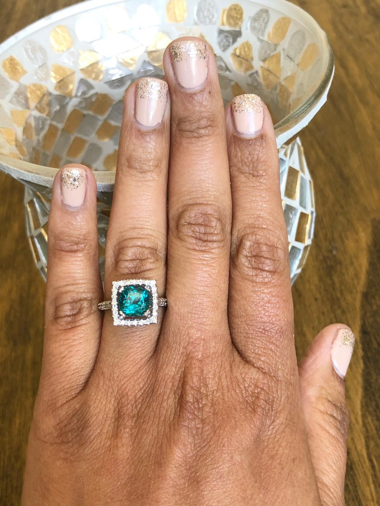 5.11 Carat Apatite Diamond White Gold Engagement Ring In New Condition For Sale In Los Angeles, CA