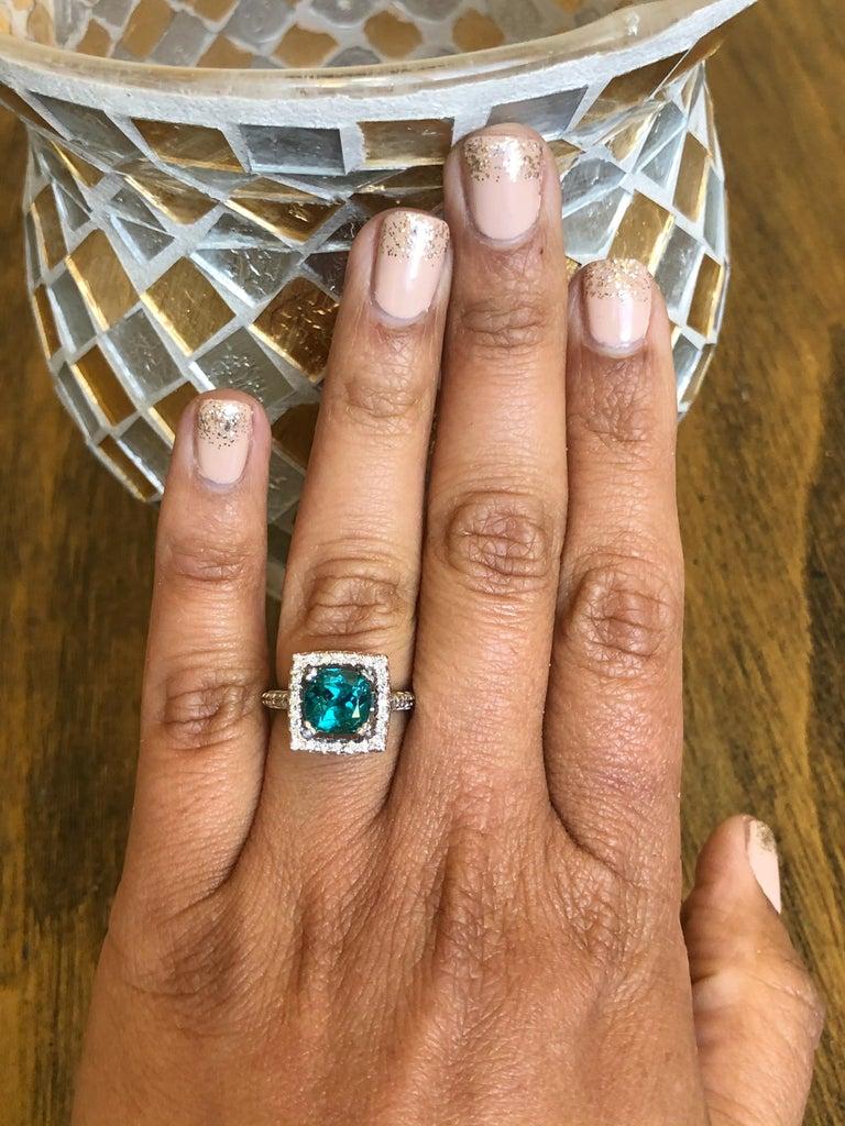 Women's 5.11 Carat Apatite Diamond White Gold Engagement Ring For Sale