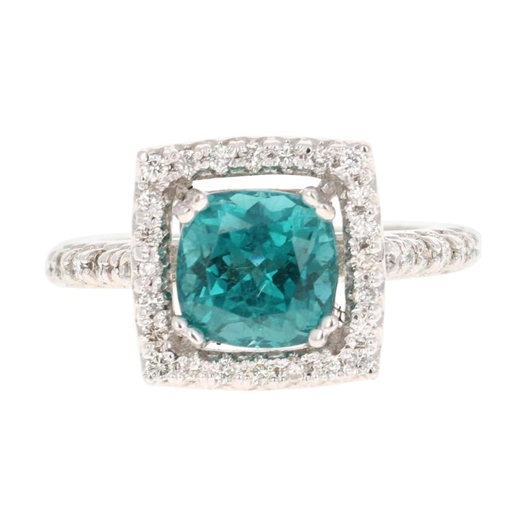 5.11 Carat Apatite Diamond White Gold Engagement Ring For Sale