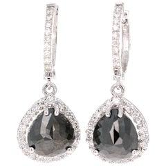 5.11 Carat Black and White Diamond 14 Karat White Gold Drop Earrings