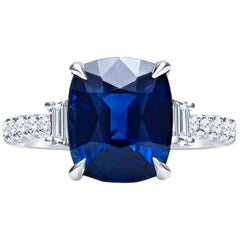 5.11 Carat Cushion Cut 'GIA' Natural Blue Sapphire, 3-Stone 18 Karat Ring