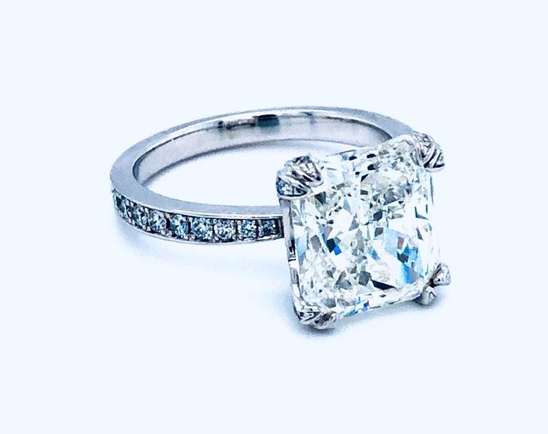 5.11 Carat H VVS1 GIA Radiant Cut Diamond Platinum Ring In Excellent Condition In Miami, FL