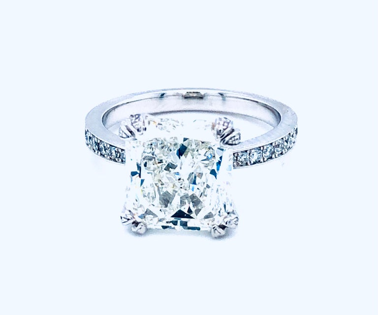 5.11 Carat H VVS1 GIA Radiant Cut Diamond Platinum Ring 1