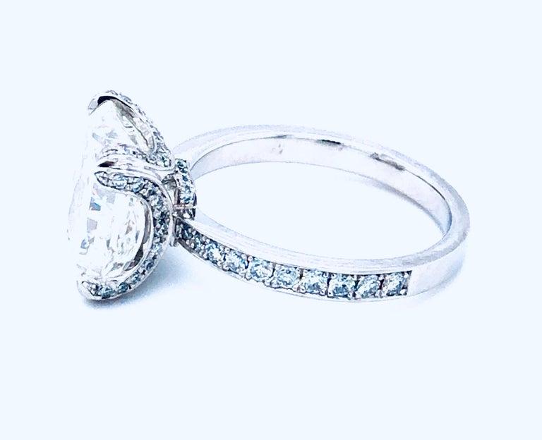 5.11 Carat H VVS1 GIA Radiant Cut Diamond Platinum Ring 2