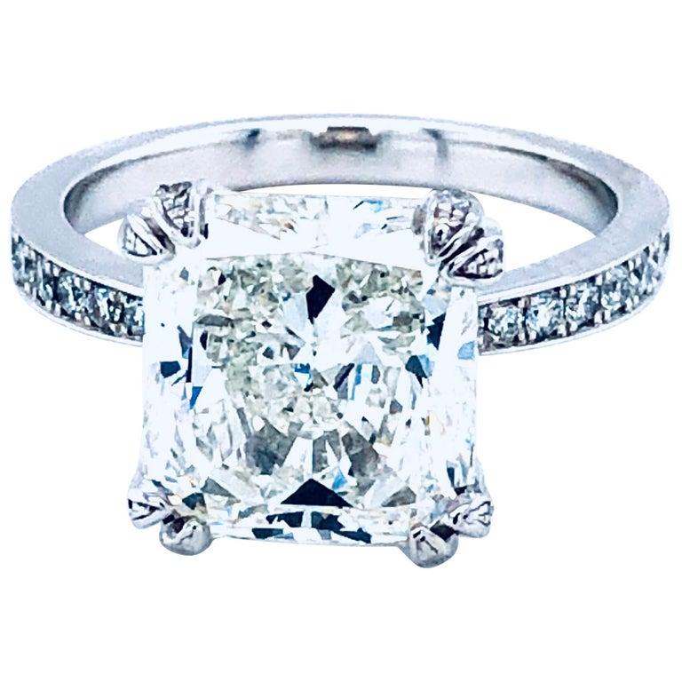 5.11 Carat H VVS1 GIA Radiant Cut Diamond Platinum Ring