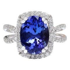 5.11 Carat Natural Tanzanite 18 Karat Solid White Gold Diamond Ring