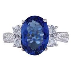 5.11 Carat Natural Tanzanite 18 Karat White Gold Diamond Ring