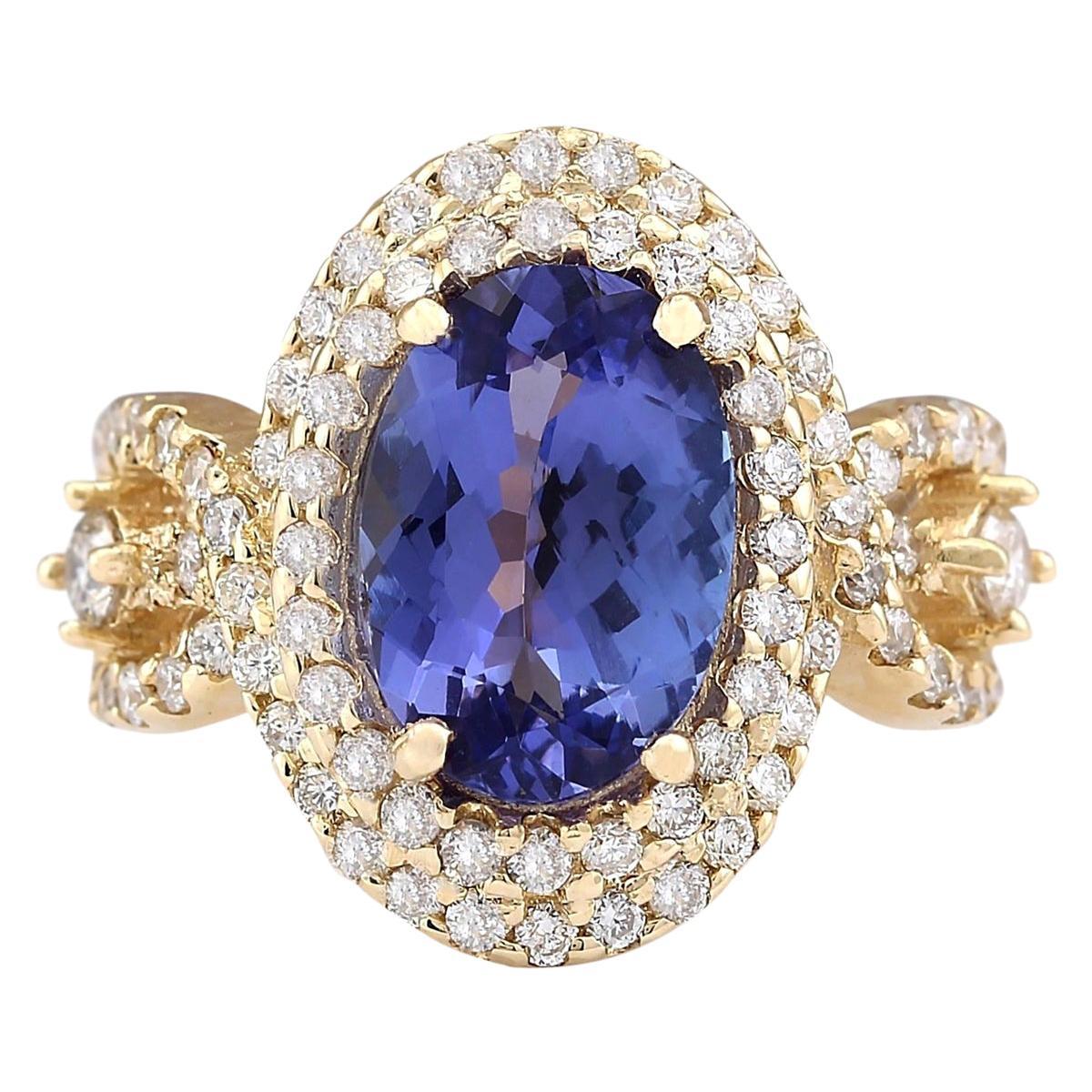 5.11 Carat Natural Tanzanite 18 Karat Yellow Gold Diamond Ring