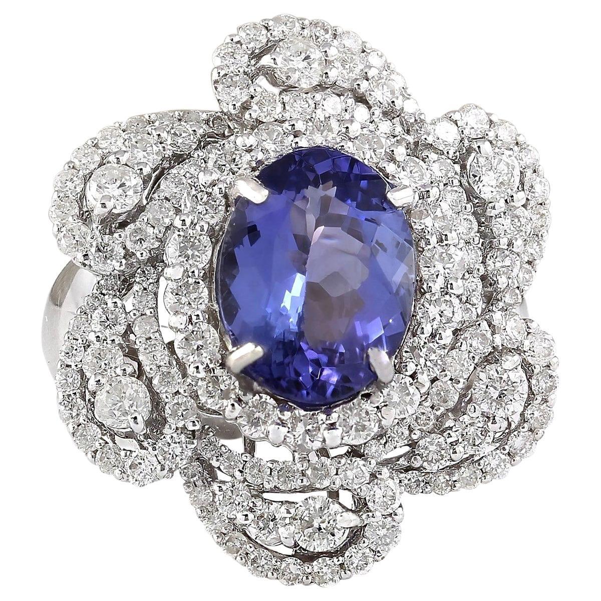5.11 Carat Tanzanite 18 Karat White Gold Diamond Ring
