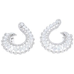 5.11 Carat Total Weight, Marquise and Round Diamond Hoop Earring