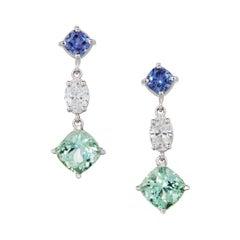 5.11 Carats Cushion Cut Tourmaline, Oval Diamonds, and Sapphire Earrings 18k WG
