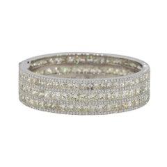 51.12 Carat Multi Row Multi Diamond Pave Bangle Bracelet 18 Karat in Stock