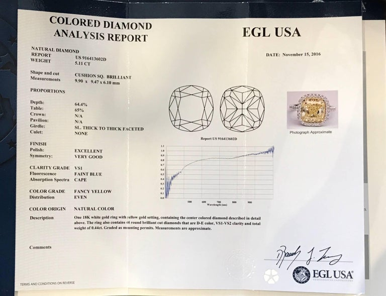 5.11 Carat Natural Fancy Yellow Cushion Cut Diamond Ring In Excellent Condition For Sale In New Orleans, LA