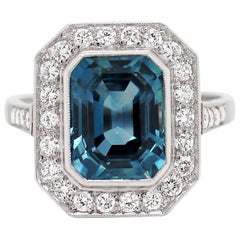 5.12 Carat Natural Unheated Sapphire and Diamond Platinum Ring